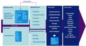 Fig 3. Proposed business model for a Big Data in Life Sciences services activity from a life sciences organization perspective. [Click to Enlarge]